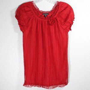 Round Neck Blouse Flower Design Lace Trimming